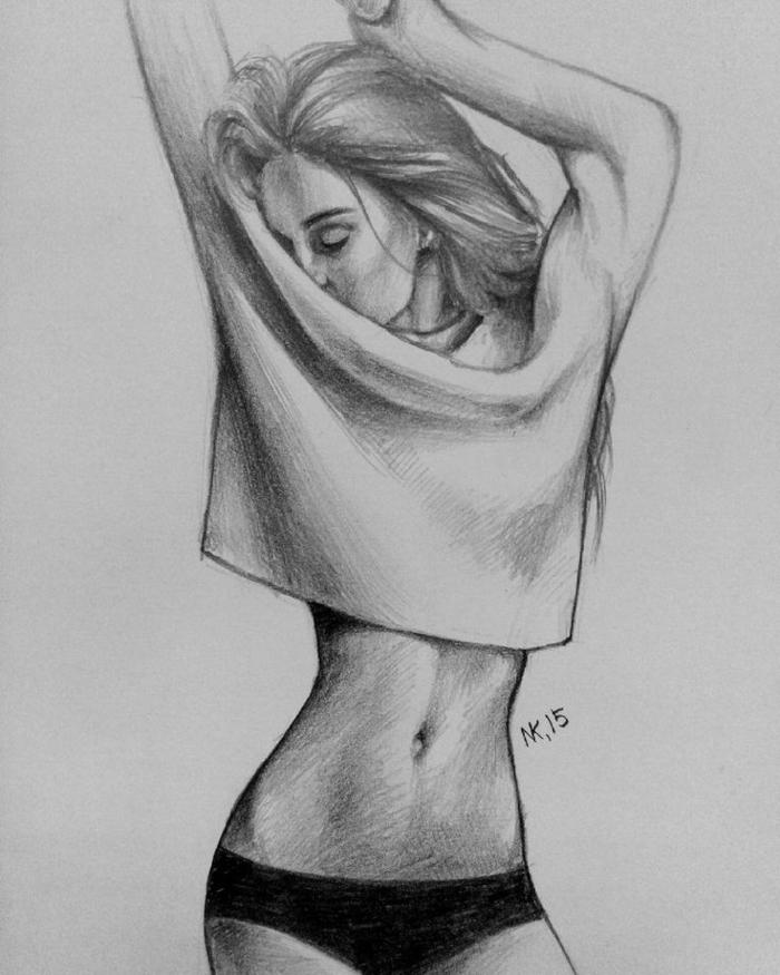 adorables dibujos mujer, ideas de dibujos para realzar la belleza de la mujer, como dibujar una niña