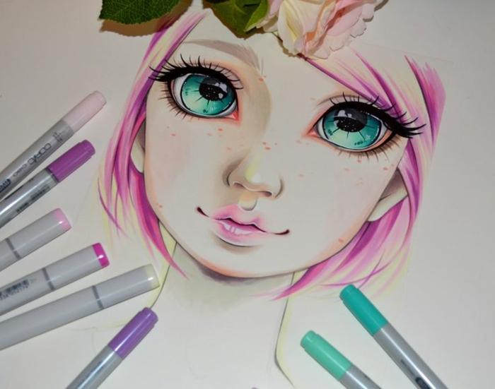 dibujos de niñas faciles en estilo hiperrealista, dibujos de niñas con marcadores coloridos