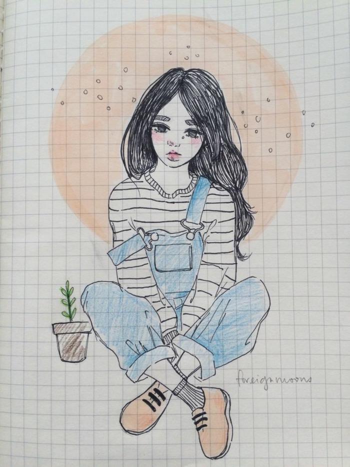 como dibujar una persona con lapices, ideas super fáciles, dibujos de mujeres inspiradores