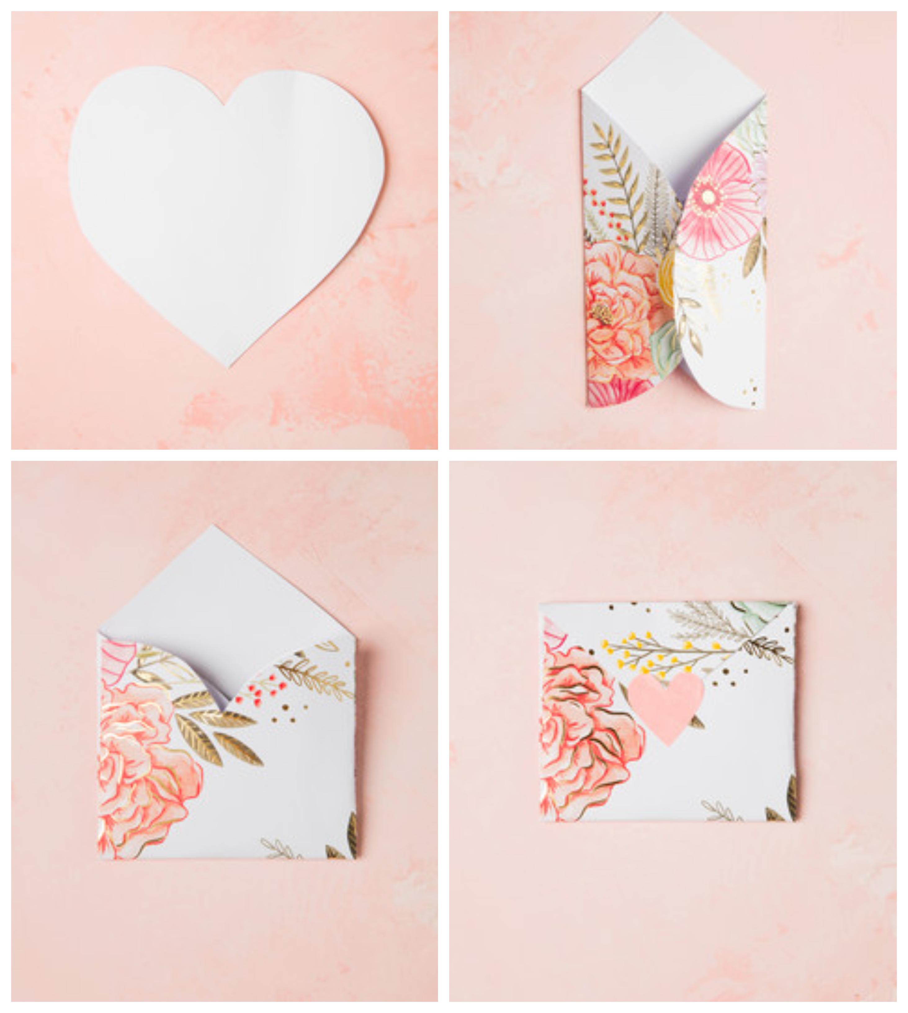 regalos san valentin hechos a mano con tutoriales paso a paso, cómo hacer un bonito sobre de papel