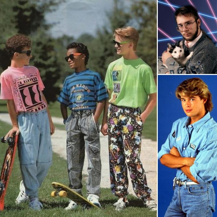 ropa infantil y juvenil, ejemplos del vestuario de los 80, niños ropa colorida, pantalones con estampados