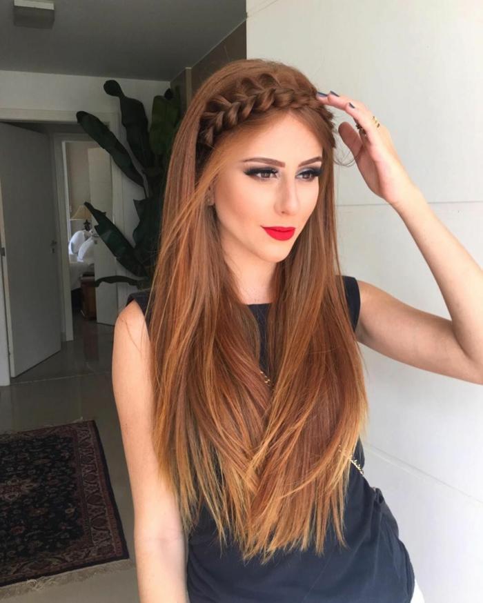 cabellera muy larga con trenza corona francesa, ideas de peinados para fiesta y eventos especiales
