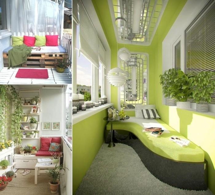 propuestas de decoracion de balcones estrechos, tres terrazas decoradas en blanco y verde