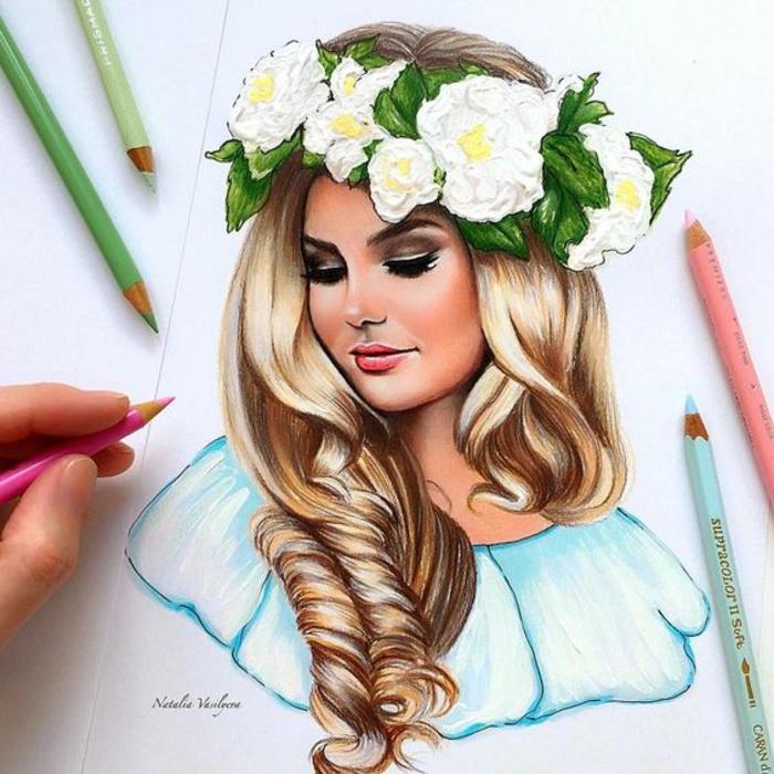 increíbles propuestas de dibujos de niñas y mujeres realistas, mujer cabello largo rizado corona de flores blancas