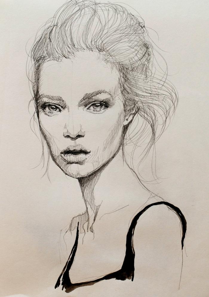 dibujos de mujeres esbozados con lapiz negro, 110 ideas sobre como dibujar una persona