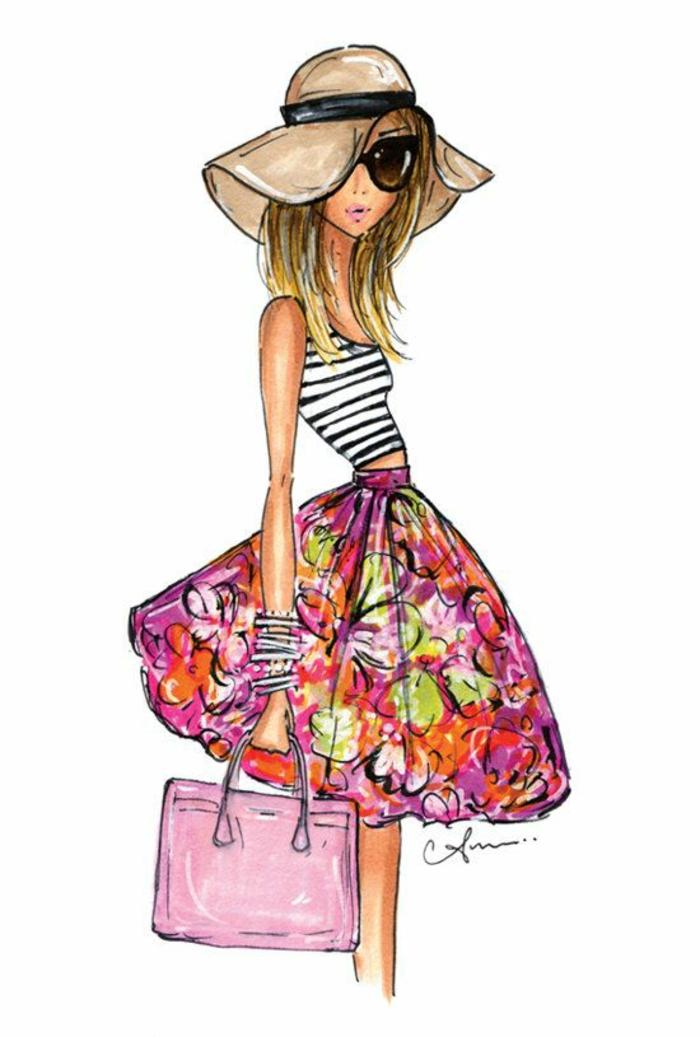 ideas de dibujos a lapiz faciles y bonitos inspirados en la moda femenina, bonita falda en flores