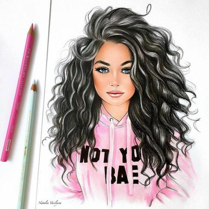 cómo dibujar una niña, ideas de dibujos a lapiz faciles y bonitos, mujer cabello largo rizado