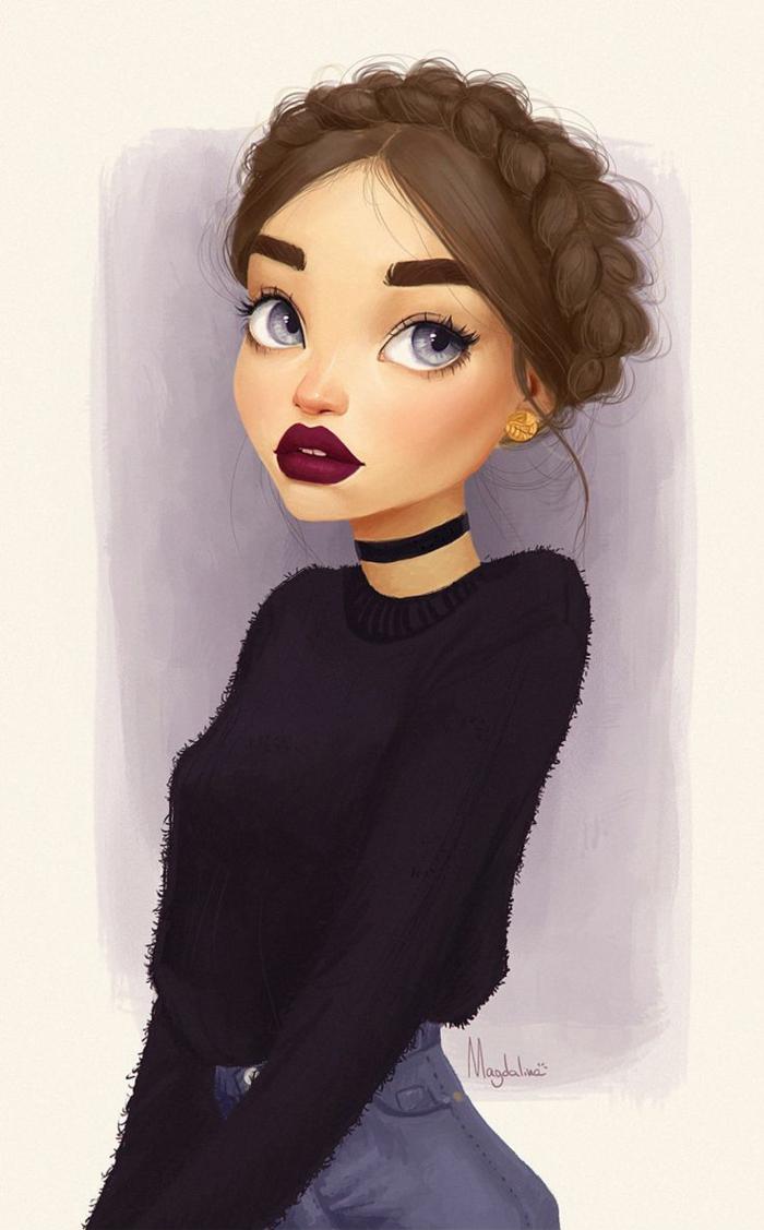 adorables dibujos de niñas inspiradas en Pinterest, dibujos a lapiz faciles y bonitos para descargar