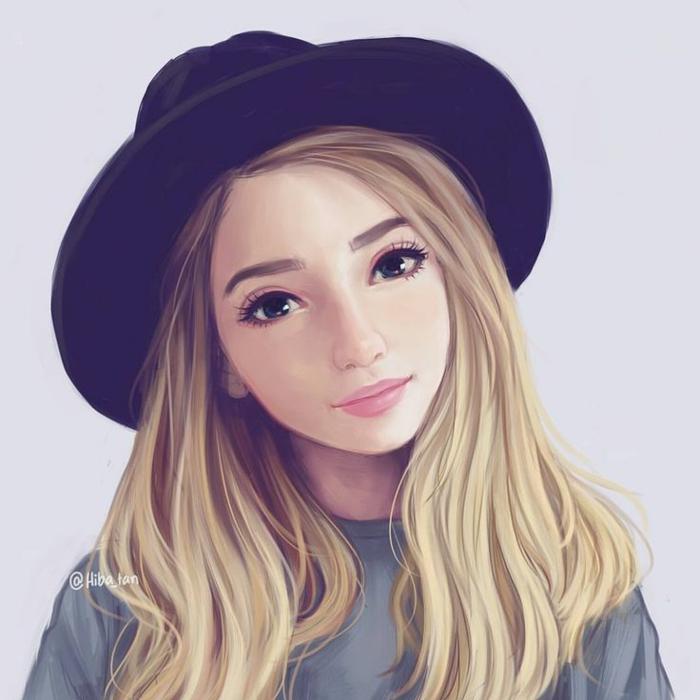 niñas dibujadas a lapiz, mujer con cabello rubio largo y sombrero, dibujos a lapiz faciles y bonitos
