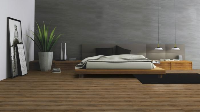 dormitorio de diseño en estilo contemporáneo decorado en gris, blanco y marrón con suelo vinílico