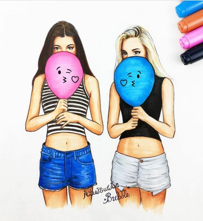 dibujos de niñas amigas, propuestas coloridas que puedes descargar, 110 imagines descargables