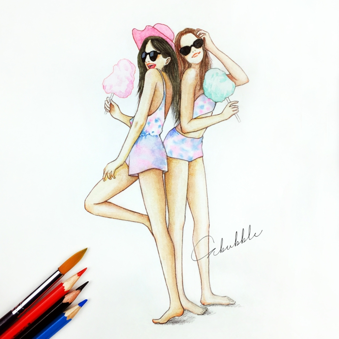 dibujo de dos amigas en verano, dibujos de niñas para colorear, maravillosas ideas de dibujos niña
