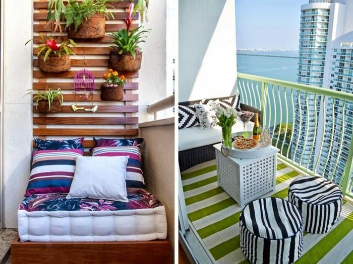dos ideas sobre decoración de balcones, paredes con macetas colgantes, sillas de diseño en blanco y negro