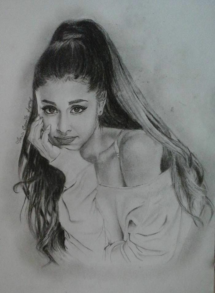 retrato a lápiz negro de Ariana Grande, ideas de retratos de celebridades en estilo realista