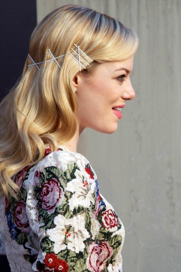 peinados fáciles, rápidos y elegantes con media melena, peinados para fiesta originales, recogido con horquillas
