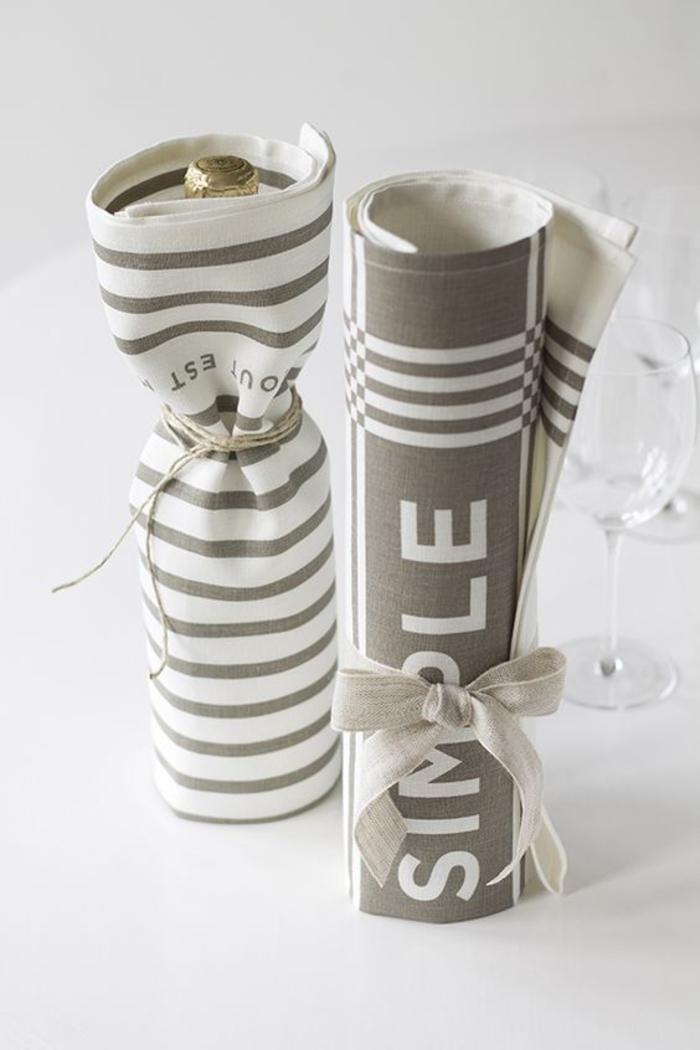 maravillosas ideas sobre vinos personalizados para regalar, embalaje bonito de tela en gris y beige