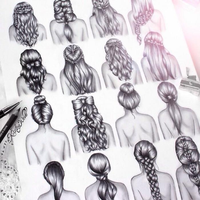 como dibujar una persona facil, dibujos fáciles que inspiran, 16 propuestas de peinados en dibujo