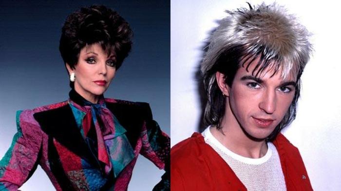 ideas de peinados típicos para los 80 moda, cabello corto mujer con tupe, peinado hombre años 80