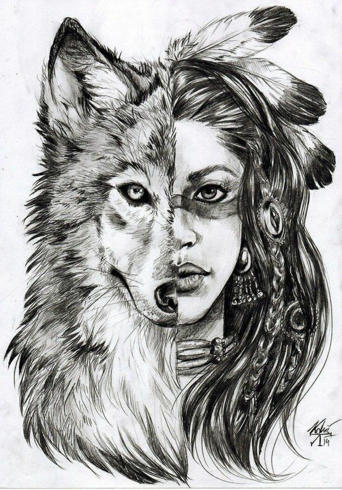 dibujos con fuerte significado, como dibujar una persona facil, niña indígena cara de lobo