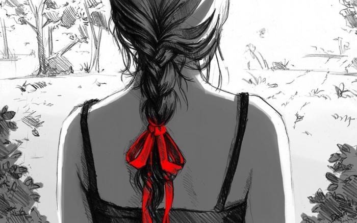 originales propuestas de dibujos mujer, como dibujar una persona facil, mujer espalda trenza con moño rojo