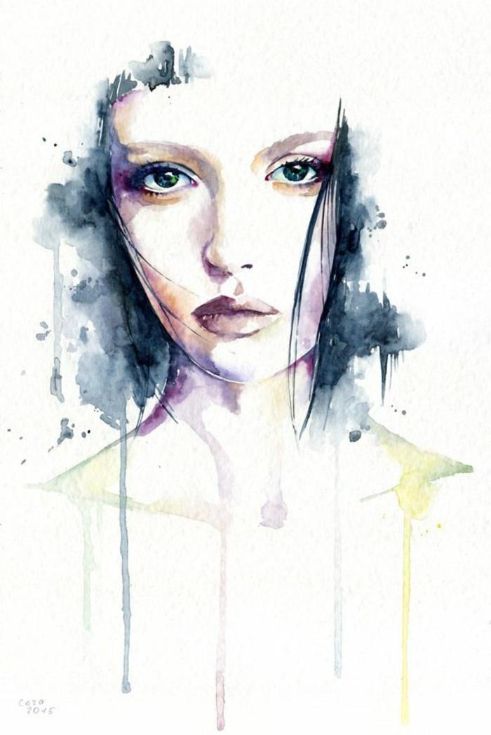 imagines de dibujos inspiradores, niña dibujo super bonito, dibujos en pintura acuarela