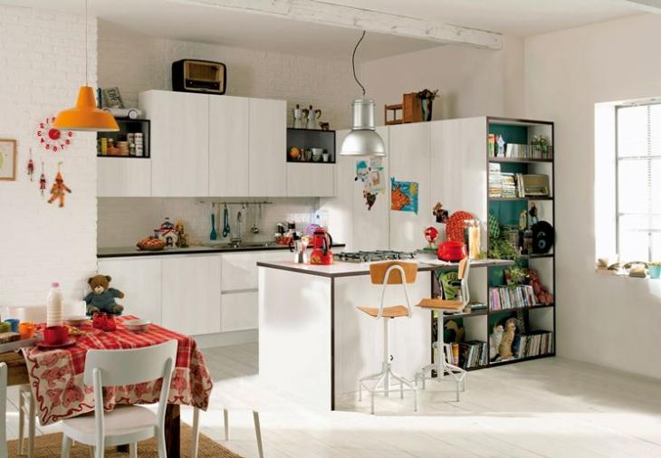 preciosa propuesta cocina color blanco con larga isla, ideas de espacios pequeños multifuncionales