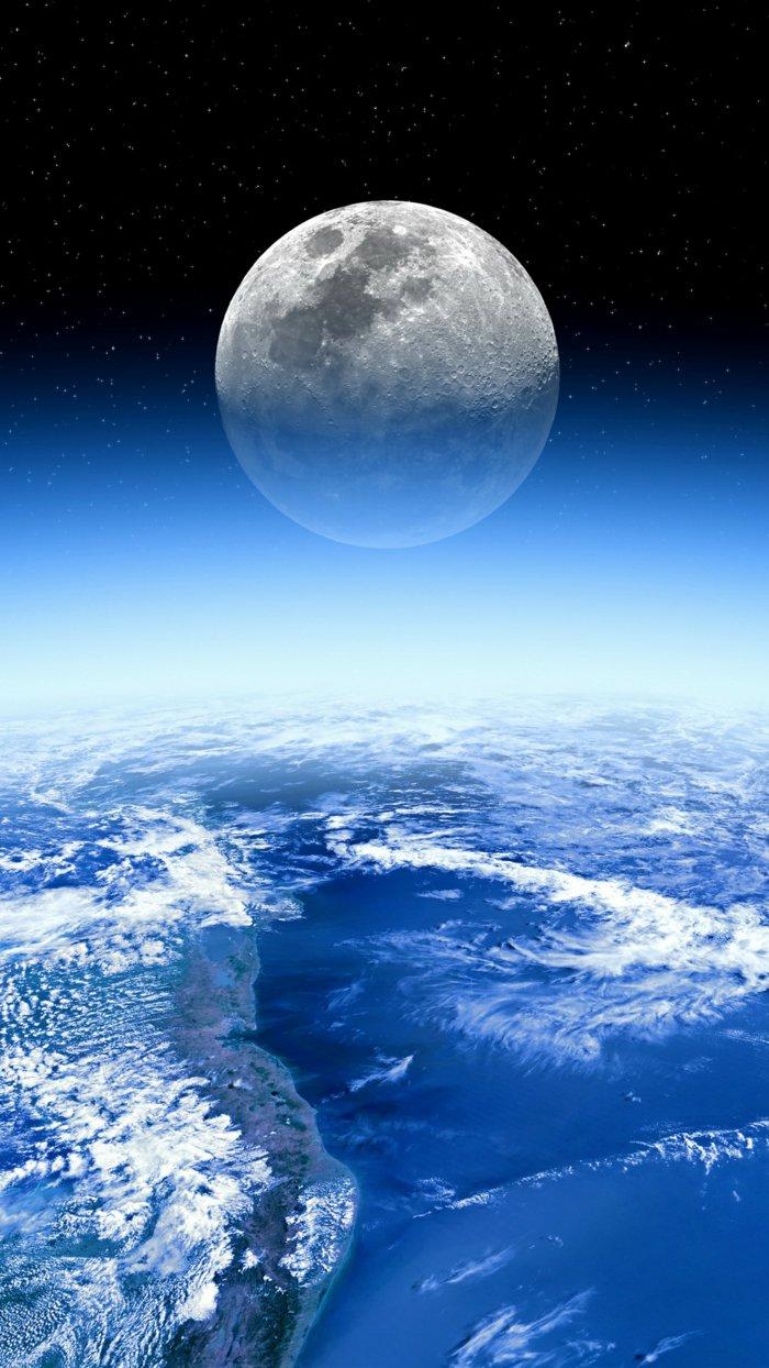 luna llena y la superficie de la tierra desde el espacio, maravillosas imagines y dibujos para tu iPhone