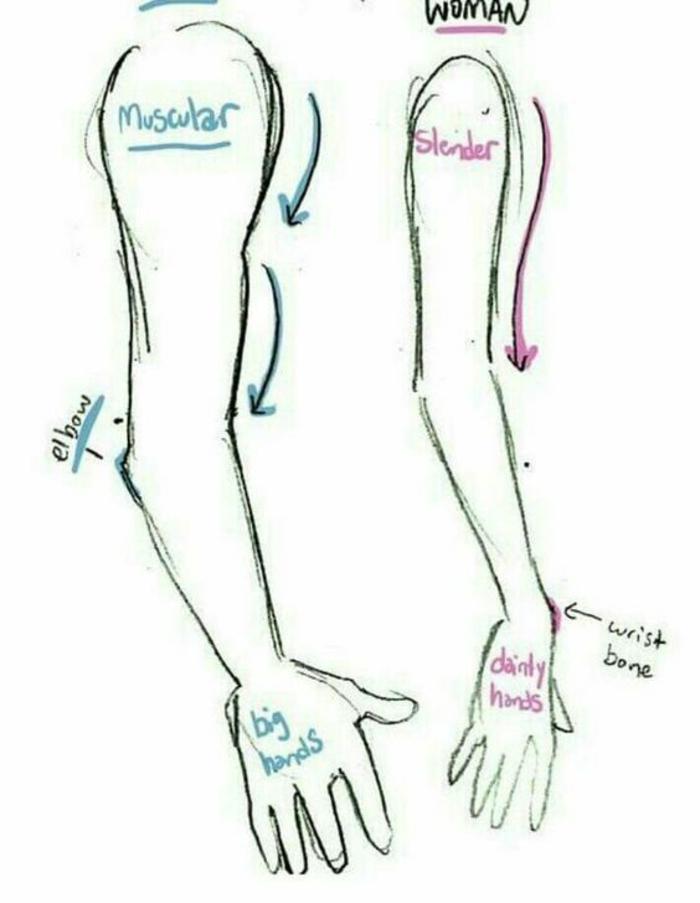 cómo dibujar un brazo de hombre y mujer, ideas originales sobre cómo dibujar personas