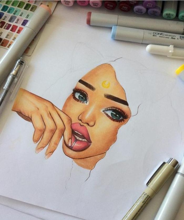 imagines con dibujos modernos inspirados en pinterest e Instagram, dibujos de niñas