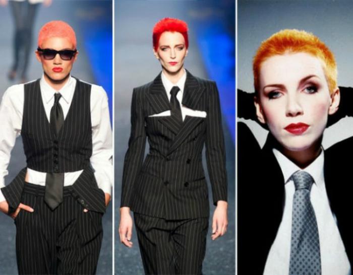 ejemplos de ropa de los 80 para mujeres , chaquetas y pantalones negros en rayas, corbata azul