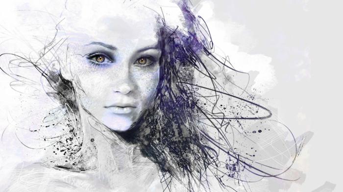 dibujos de niñas que enamoran, dibujos a lapiz con pintura acuarela, mujer retrato toque es color lila