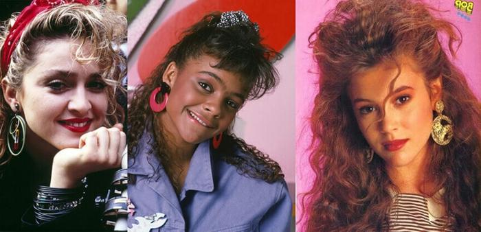 adorables propuestas de la moda años 80 en los peinados, melenas rizadas con mucho volumen, semirecogidos con flequillos