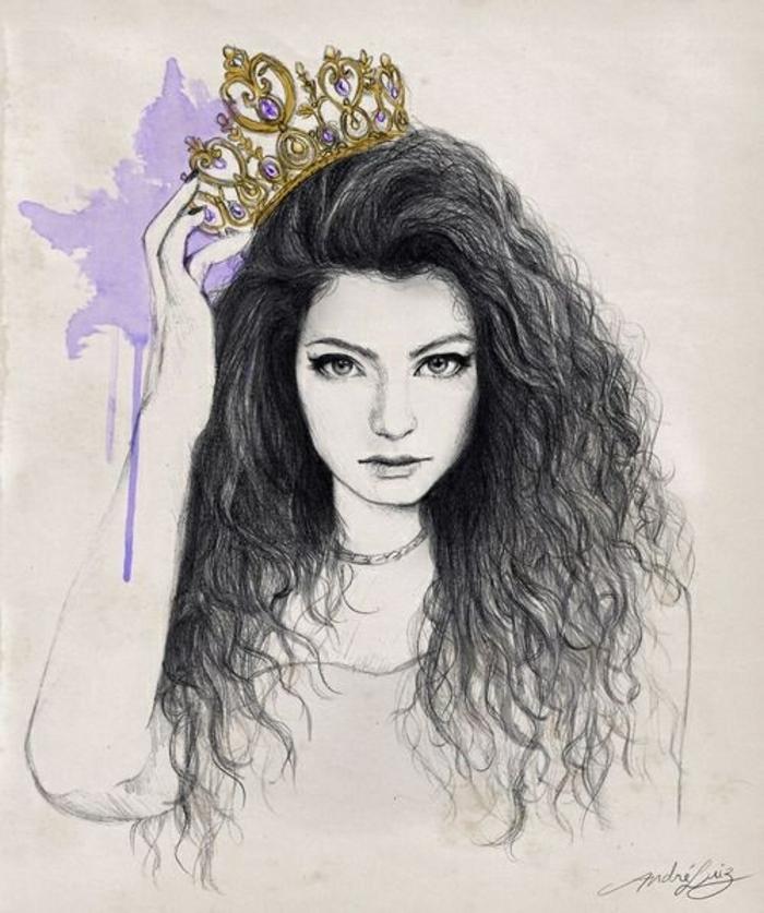 dibujos en blanco y negro que enamoran, mujer cabello largo rizado negro con corona dorada