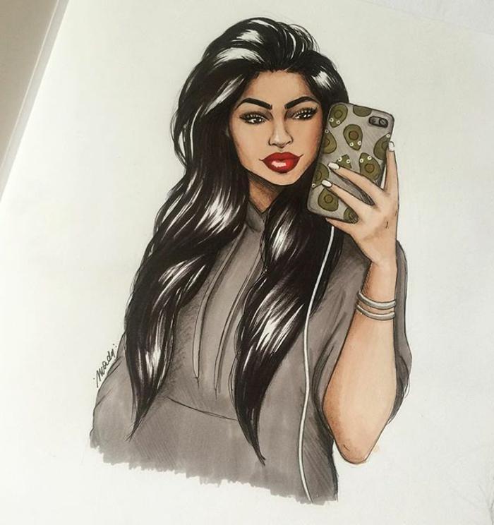 dibujos de mujeres inspirados en Instagram y Pinterest, mujer con melena negra super larga