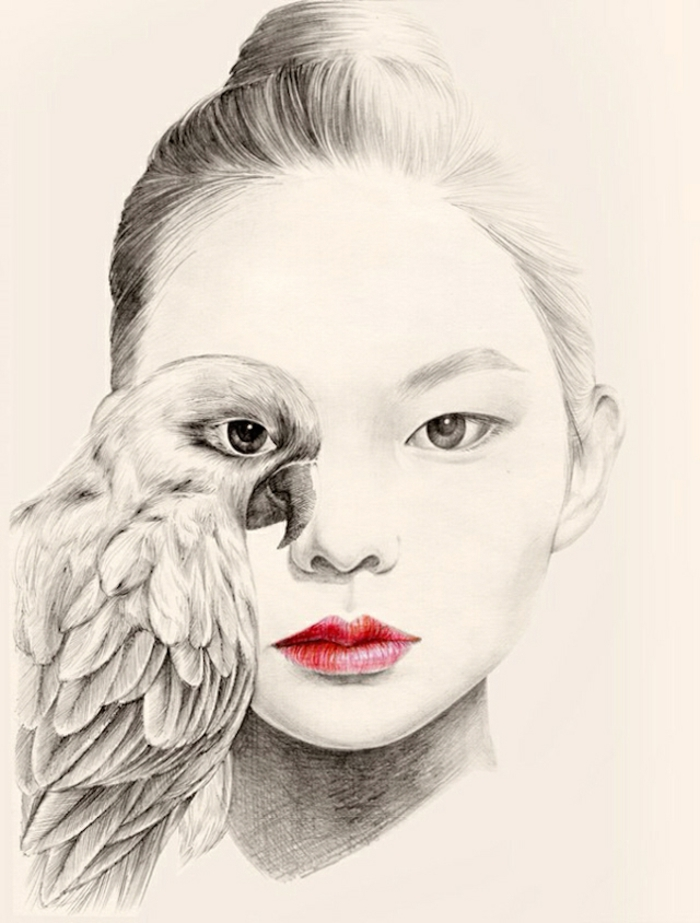 maravillosas propeustas de dibujos mujer para inspirarte, chica japonesa pelo recogido loro