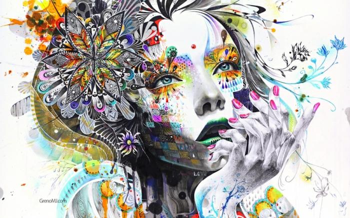 maravillosas propuestas de dibujos mujer en estilo surrealista, mujer flores toques coloridos