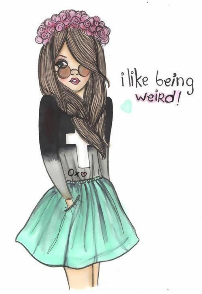 dibujos de chicas fáciles de hacer con frases motivadoras, niña con falda verde y corona de flores