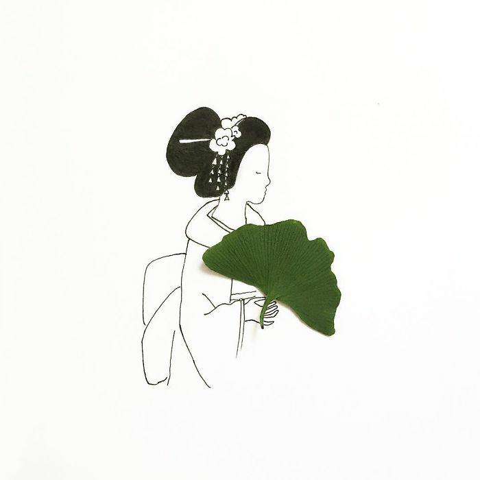adorables imagines inspiradas en las tradiciones y la cultura de Japón, dibujos de mujeres bobnitos