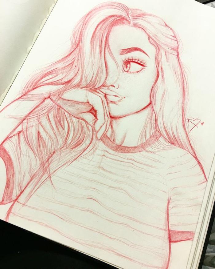 hermmosos ddiibujos de mujeres para inspirarte, mujer con pelo suelto y ojos grandes