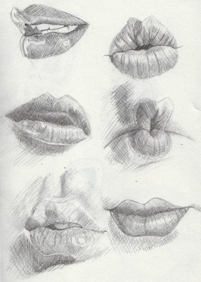 cómo dibujar labios, seis propuestas originales, ideas y consejos de dibujos mujer para principiantes