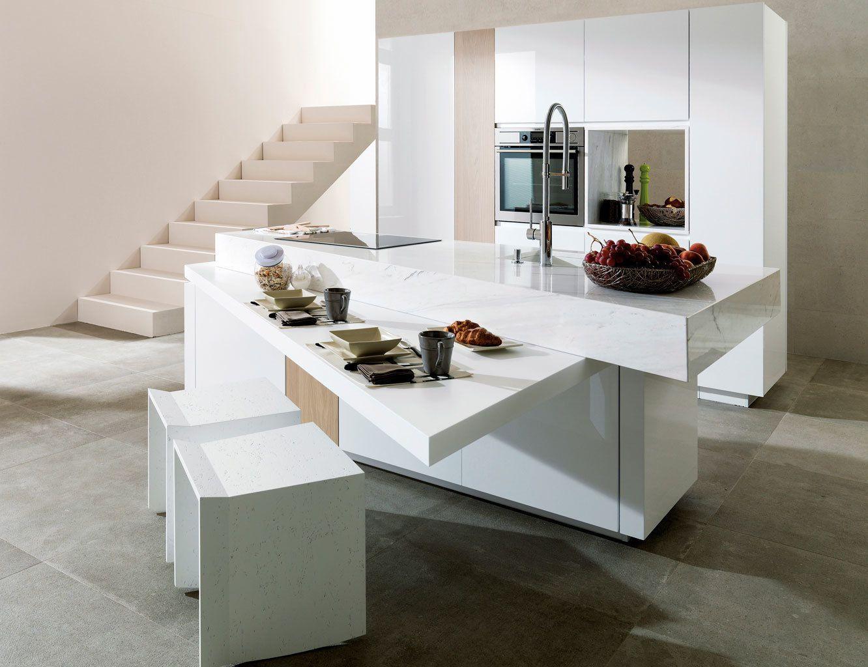 propuesta original de una cocina con isla desplegable, cocina estilo contemporáneo con muebles blancos