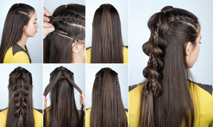 cómo hacer un precioso semirecogido paso a paso, cabellera larga lisa con recogido con trenzas