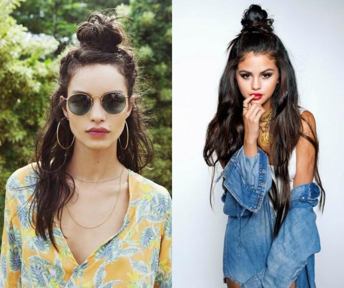 imagines de semirecogidos que estarán en tendencia en 2018, cabelleras largas color castaño oscuro