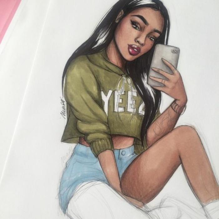 dibujos de niñas inspirados en Instagram y Pinterest, niña pelo largo haciéndose un selfi