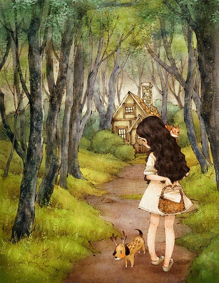 adorable dibujo con una pequeña niña en el bosque, imagines de mujeres que inspiran