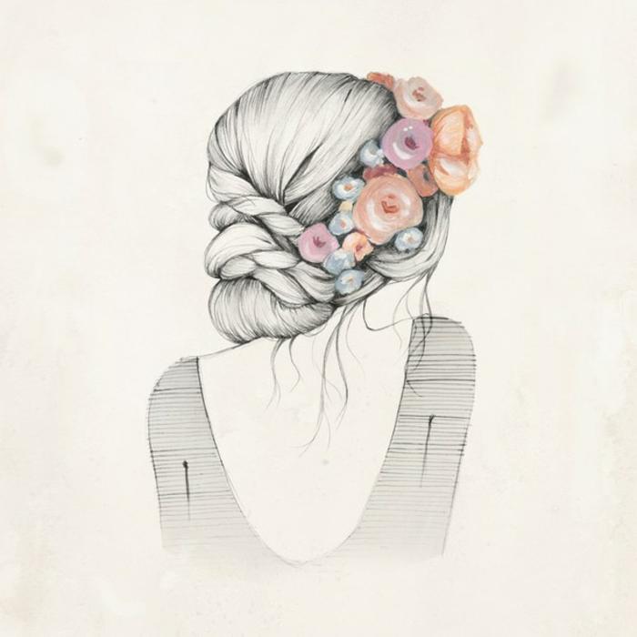 adorable propuesta dibujo mujer, dibujo de mujer pelo recogido moño trenzado o flores