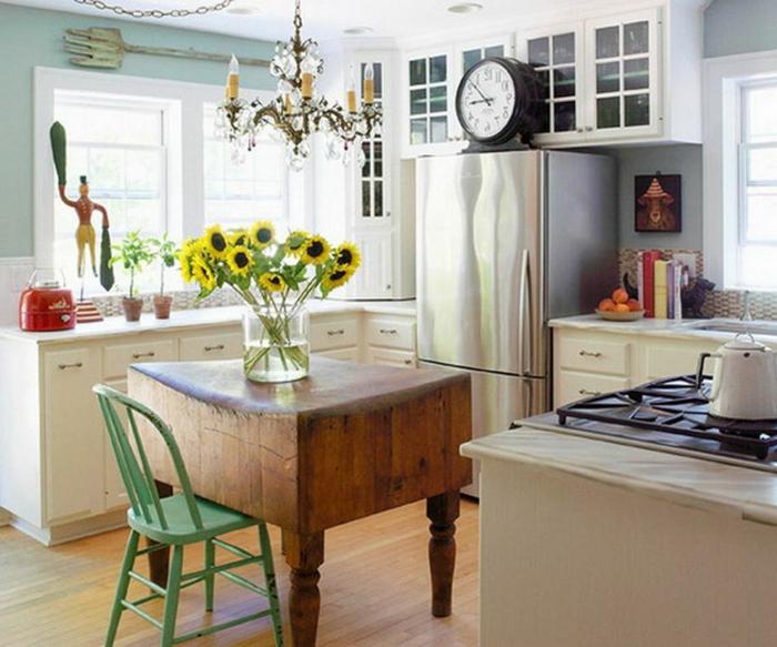 ejemplos de cocinas rusticas modernas de tamaño pequeño, grande isla de madera, cocina provenzal