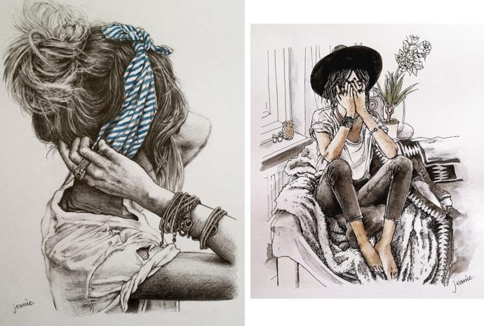 dos imagines de dibujos con mujeres, dibujos de niñas para colorear originales, más de 110 propuestas
