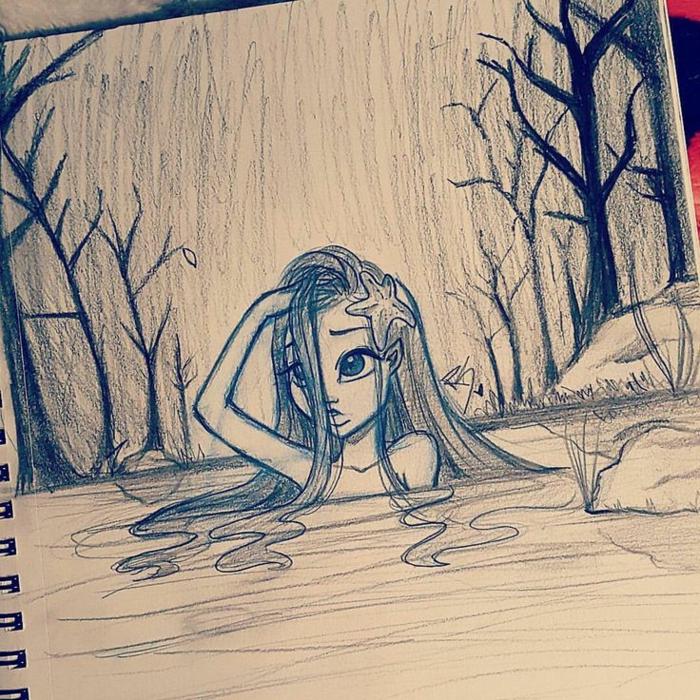 divertidas propuestas dibujo mujer, pequeña niña en un lago, dibujo de una sirena, imagines con dibujos niña