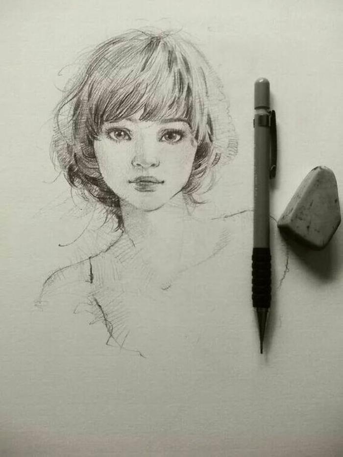 dibujos de niñas bonitos, cómo dibujar la cara de una mujer, dibujo con lápiz fácil de hacer